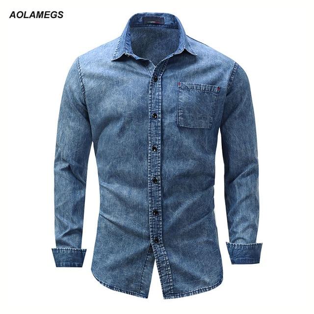 f9a0720046b0c Aolamegs hombres Denim Camisas azul manga larga pecho camisa de Jean  bolsillo sólido de alta calidad