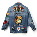 Осень 2016 Мода Бабочка Цветок Вышитые Джинсовые Куртки Женские Средние и Длинные Дизайн Свободные Куртки и Уличная 2 Цвета