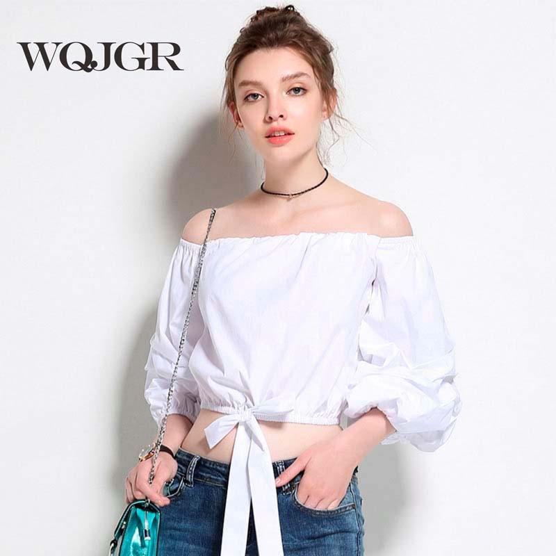 WQJGR 2017 New Shirt Korean Strapless One Word Lead Shirt Leisure Time Short Fund Long Sleeve Blusas Woman