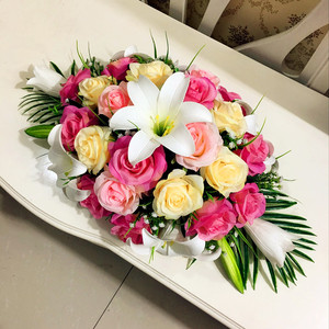 Image 3 - 高級diyの結婚式の装飾テーブルの花ランナー造花行配置テーブルセンターピースローズユリシャクヤクグリーンリーフ