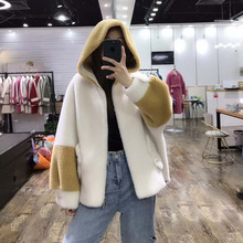 parka real fur plus size wool blends coat 2019 Pearl buttons