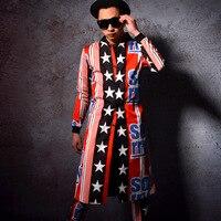 Заказ Для мужчин Костюмы Тренч + Брюки комплекты мужской моды принтом хип хоп Повседневное Тренч куртка сценические костюмы