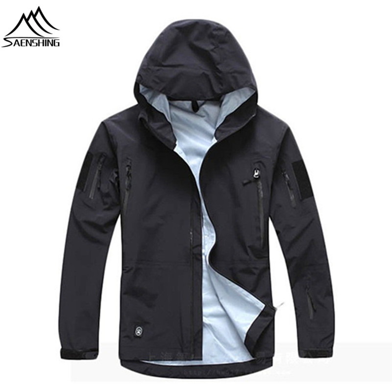 SAENSHING outdoor waterproof jacket Camo Tad military Tactical jacket hunting clothes camping TAD softshell jacket windbreaker|Hiking Jackets|Sports & Entertainment - title=