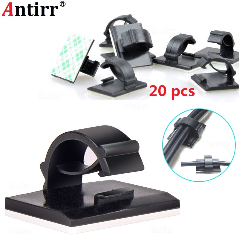 20pcs Adhesive Car Cable Winder Fastener Tie Fixer Organizer Charger Line Clasp Wire Cord Clip Wall Clamp Holder Management