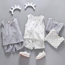 Хлопковый льняной костюм для мальчиков и девочек Летний жилет без рукавов и шорты комплект из 2 предметов детский комплект одежды г. Детские комплекты От 0 до 5 лет для малышей