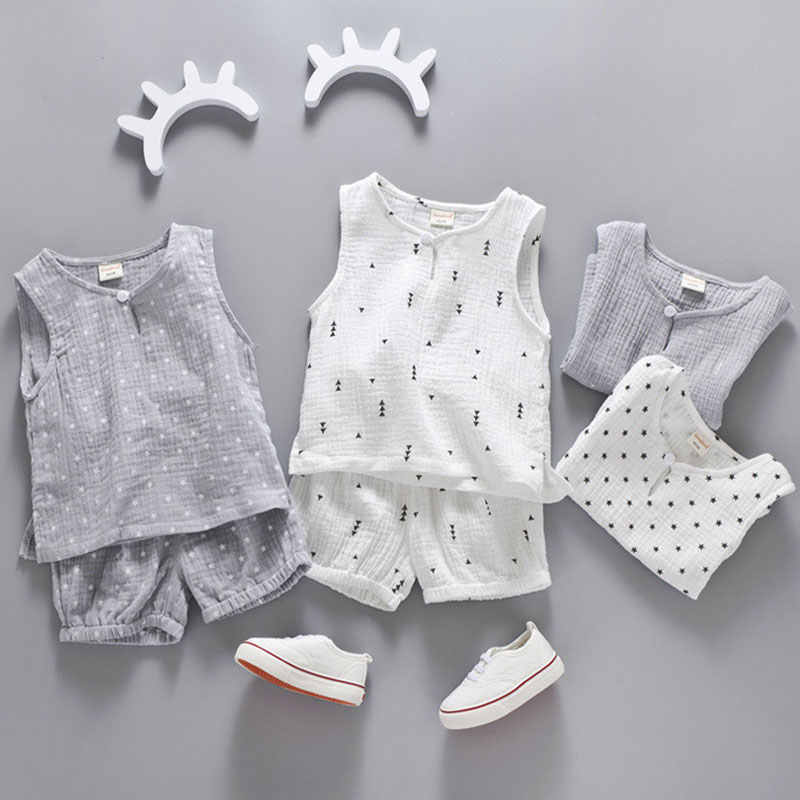 Cotton Linen Boys Girls Suit Summer Sleeveless Vest Shorts 2pcs Suit Children Set 2018 Clothing Kids Sets Bebe Toddler 0-5T