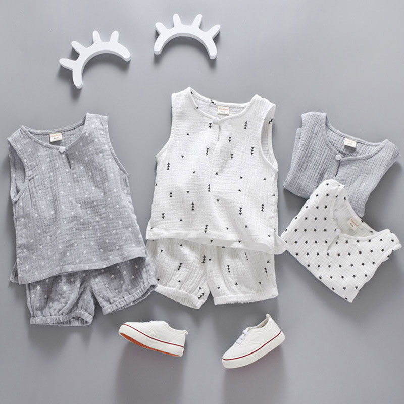 Cotton Linen Boys Girls Suit Summer Sleeveless Vest Shorts 2pcs Suit Children Set 2018 Clothing Kids Bobo Bebe Toddler 0-5TCotton Linen Boys Girls Suit Summer Sleeveless Vest Shorts 2pcs Suit Children Set 2018 Clothing Kids Bobo Bebe Toddler 0-5T