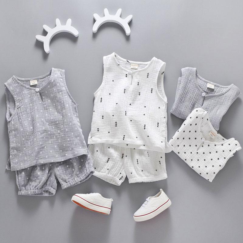 Cotton Linen Boys Girls Suit Summer Sleeveless Vest Shorts 2pcs Suit Children Set 2018 Clothing Kids Sets Bebe Toddler 0-5T