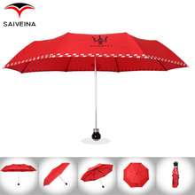 Saiveina Three-folding Car Brand Umbrellas Luxury Rain Umbrella Men Women Gift Maserati Black Red