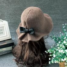 Новая Элегантная шапка из овечьей шерсти, вязаная шапка с большими полями, Зимняя Толстая Женская модная зимняя шапка, аксессуары