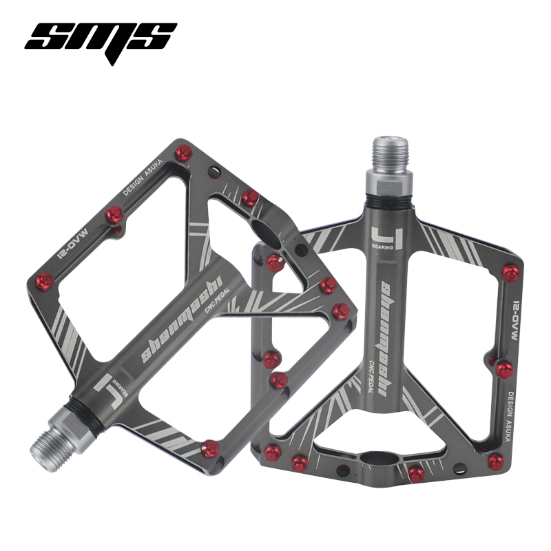 SMS Bicycle Pedals 8 Bearings Wide Non slip Aviation Aluminum Alloy font b Bike b font