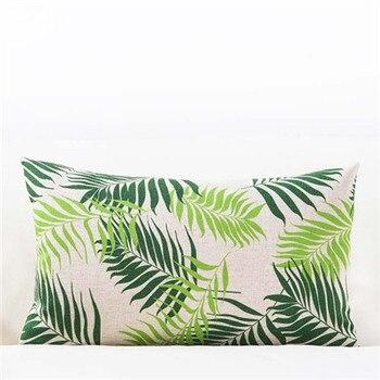 Green Leaf Rectangle Cushions