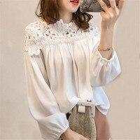 النساء الشيفون بلوزة قمم الربيع الخريف فضفاض أبيض الدانتيل البلوزات الإناث طويلة الأكمام قميص الجوف خارج ol قميص زائد حجم AB724