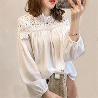 Women Chiffon Blouse Tops Spring Autumn Loose White Lace Blouses Female Long Sleeve Shirt Hollow Out