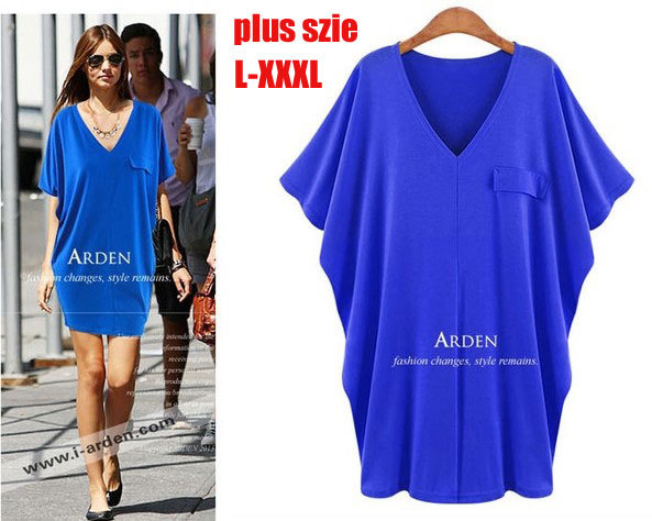 Summer Dress Plus Size Xxxl Loose Dress Bat Sleeve V Neck T Shirt