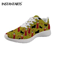 INSTANTARTS Breathable Women Flats Shoes Air Mesh Casual Shoes Spanish Dancer Flamenco Female's Sneakers 3D Print Zapatos Mujer