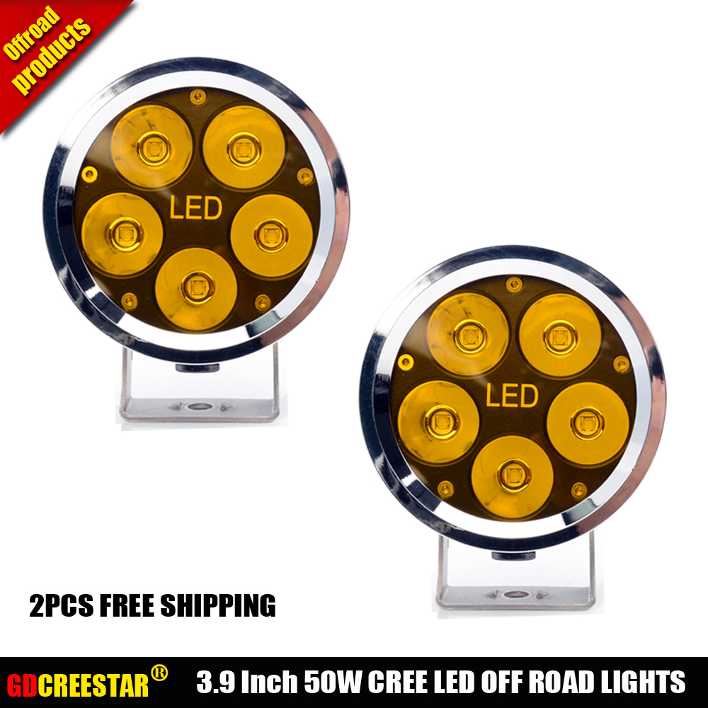 Car Led Tractor Work Lights 4 inch Round 50W Mini Led Off Road Lights 4x4 4WD Led Driving lights x2pcs/lots Free Shipping