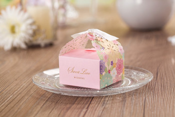 """100X WISHMADE 2.76""""x2.76""""x2.67"""" Blush Pink Floral Laser Cut Candy Box Party Favors Box for Wedding Engagement Party CB5031"""