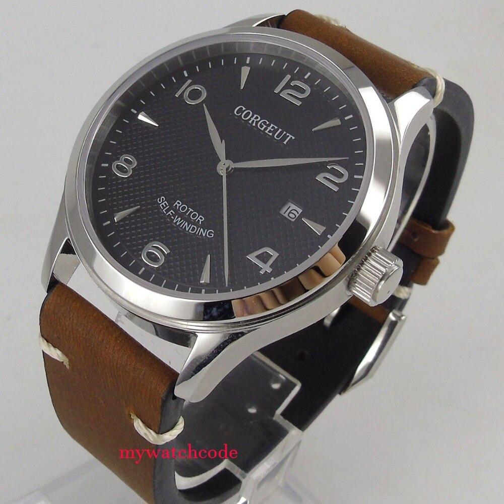 42mm corgeut dial negro cristal de zafiro de fecha 21 miyota automático reloj C101-in Relojes mecánicos from Relojes de pulsera    1