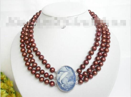 Livraison gratuite vente chaude femmes de mariée bijoux de mariage > > AAA 3row 11 mm café perles d'eau douce collier coquillage