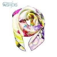 Grote Maat Plein Sjaal Brand 100% Zijde Bloem Designer Sjaals Vrouwen Stole Wraps Hijab Fashion Accessoires