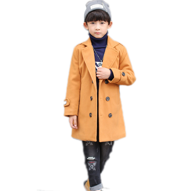 children clothing 2018 new kids winter jackets double breasted solid baby boy wool jackets thicken warm kids coat for boys 4-13T 2017 children wool fur coat winter warm natural 100% wool long stlye solid suit collar clothing for boys girls full jacket t021