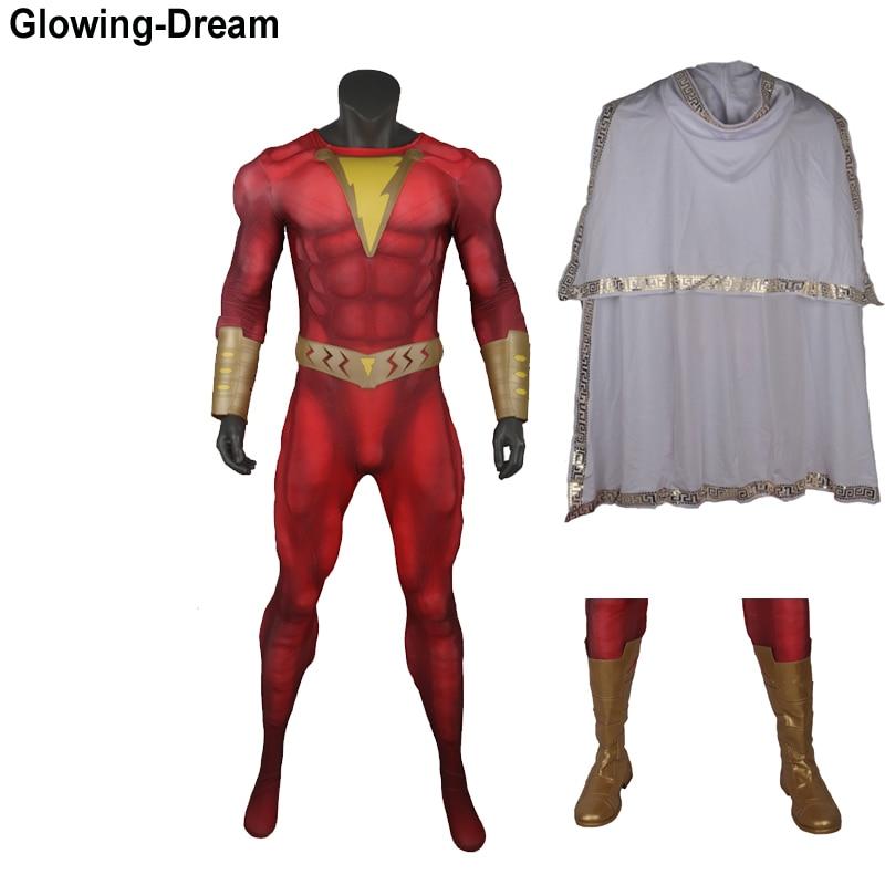 Disfraz de Cosplay de Shazam, Shazam, acolchado muscular 3D, brillante, de alta calidad con accesorio de película, disfraz de Shazam para hombres