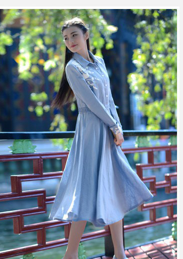 light blue full sleeve cotton and linen long embroidery peterpan collar medieval dress  Victorian vintage dress