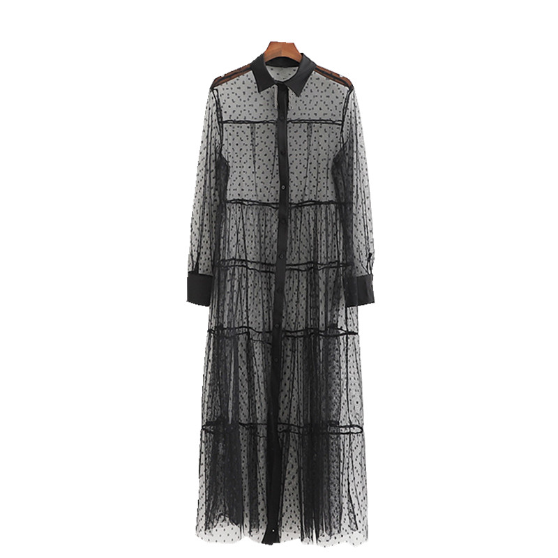 Women Black Polka Dot Mesh Long   Shirt   Summer Top See Through Sheer Dress   Blouse   Sexy Transparent Beach Long Tops