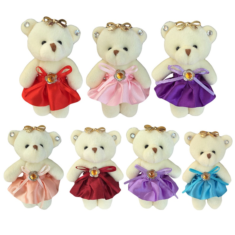 12 Pcs For Christmas Gift NEW 12CM PP Cotton Kid Toys Plush Doll Mini Small Teddy Bear Flower Bouquets Bear For Wedding