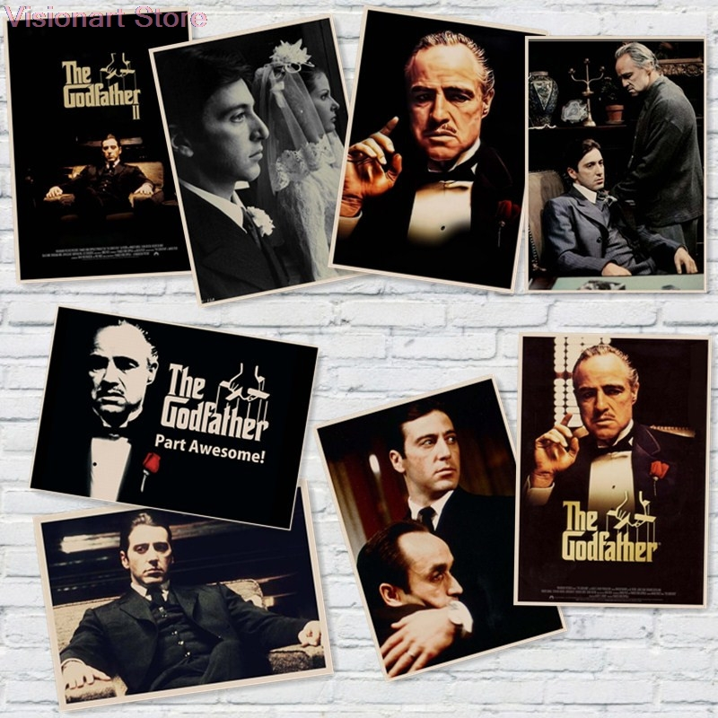 Godfather Posters Vintage Poster Movie Posters <font><b>Wall</b></font> <font><b>Sticker</b></font> Home Decor <font><b>Retro</b></font> Posters MO70 image