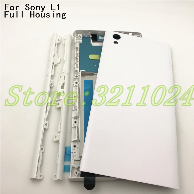 New Full Housing Middle Front Frame Bezel Housing For Sony Xperia L1 G3311 G3312 G3313 +Side Rail Stripe With Side Buttons +Logo