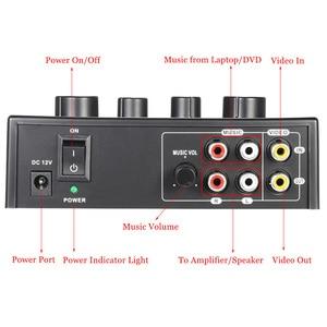 Image 4 - Mélangeur décho Audio stéréo Portable karaoké double entrées Microphone avec câble RCA adaptateur dalimentation pour TV PC amplificateur de Smartphone