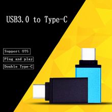 50pcs Aluminum alloy USB typec o-t-g adapter Fast usb 3.0  to Type C converter type-c charge data sync cable for samsung/huawei