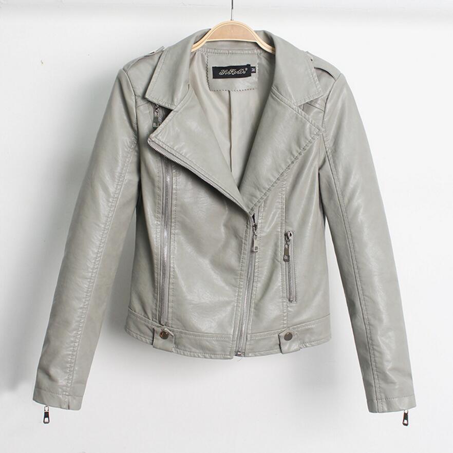 Diagonal zipper PU Leather Jacket Female Motorcycle PU Leather Jacket Women's clothing Slim Leather & Suede Jacket Fashion