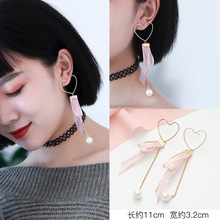 SUKI Pearl Drop Earrings Lace Ribbon Korean Chiffon Handmade Girls Allergy White Pink Wedding Long Love Heart Shape Soft