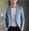 Slim bleiser masculino spring casual personality male thin flowers blue star mens slim fit suit jackets blazers blaser masculino