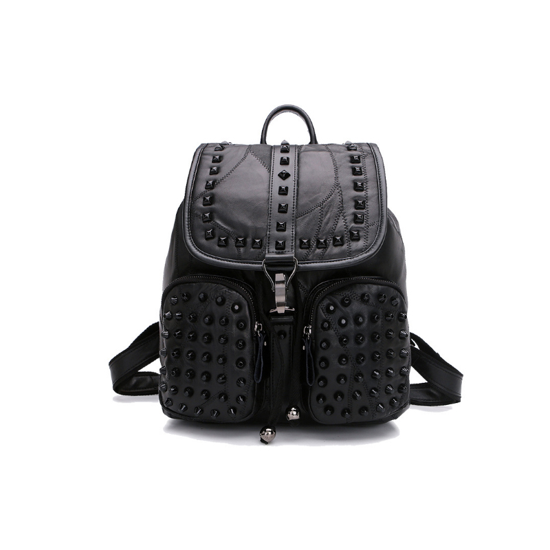 Homeda Genuine Leather Rock Rivet Women Backpacks Fashion Street Solid Sheepskin Multi-pocket Bags Z0009