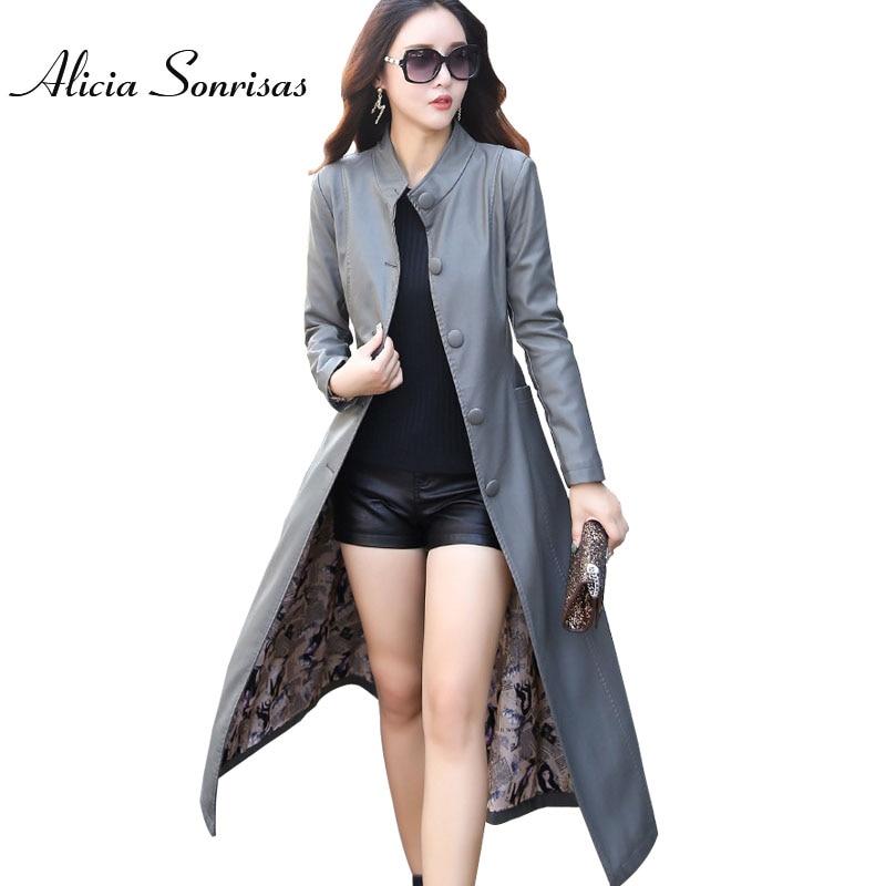 Extra Long Windbreak   Leather   Jacket Women Plus Size 3XL 4XL 5XL Grey Street Fashion Stand Collar Grey Autumn Coat KF6701