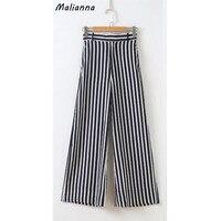 נשים בסגנון הקיץ אלגנטי וינטג שחור אנכי הפסים מכנסיים מותניים אלסטי גברת מכנסיים רגל רחב מכנסיים רגל רחב מותניים גבוהים