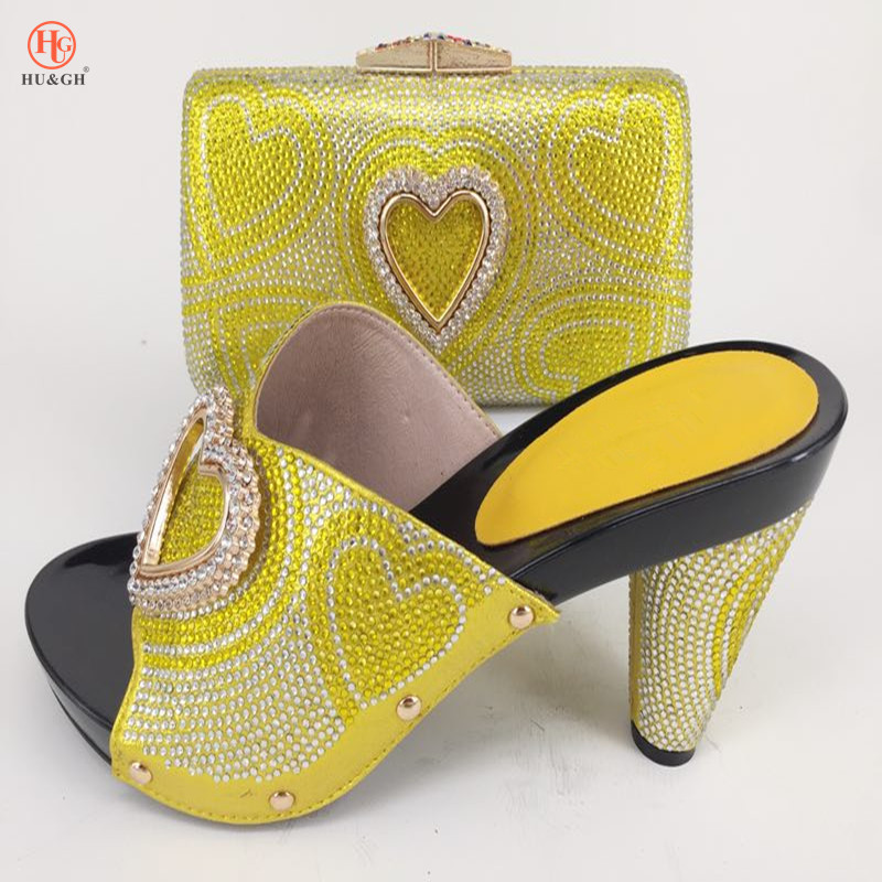 Italian Yellow Shoes and bag set African Wedding or Office Shoes and Bag Set Matching Shoes and Bag Set High Quality Pu Leather wholesale italian ladies matching shoes and bags set in yellow high quality fashion african women shoes matching bag set mm1026