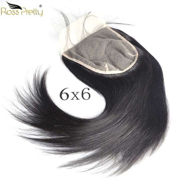 Lace Closure 6x6 Peruvian Straight hair Pre Plucked Closure Transparent Ross Pretty Remy Human Hair Product Natural Color Black
