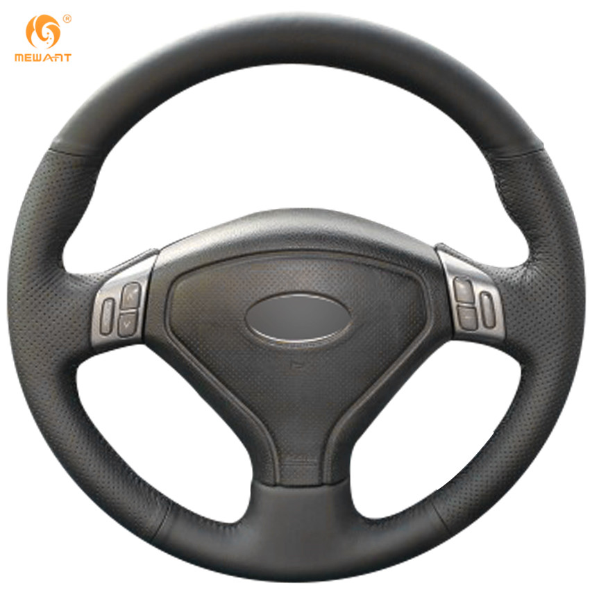 MEWANT Black Genuine Leather Car Steering Wheel Cover for Subaru Forester 2004-2006 Outback 2004 2005 Legacy 2004-2006 aluminium gear shift steering wheel extension paddle shifter bezel garnish for forester legacy outback xv 2010 2016 car styling