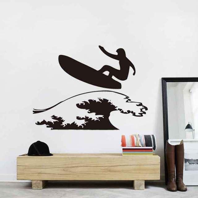 Latest New Creative Wall Art Surfing Boy Wall Decals Bedroom Vinyl ...