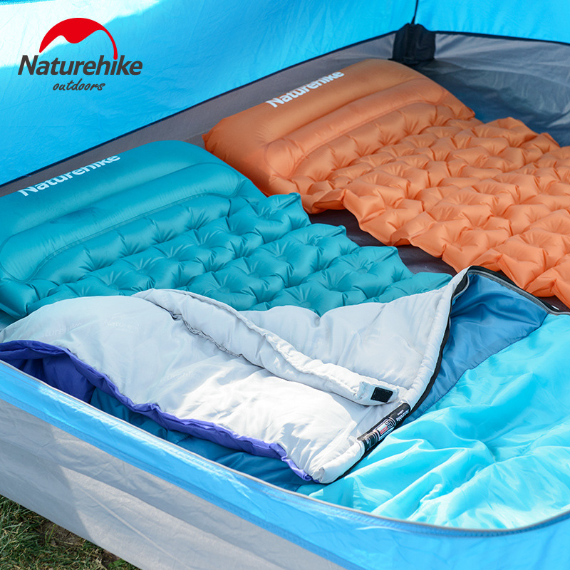 Naturehike Hand Press Inflatable C&ing Mattress With Pillow Fast Filling Air Moistureproof Mat Sleeping Pad 3 Colors-in C&ing Mat from Sports ... & Naturehike Hand Press Inflatable Camping Mattress With Pillow Fast ...