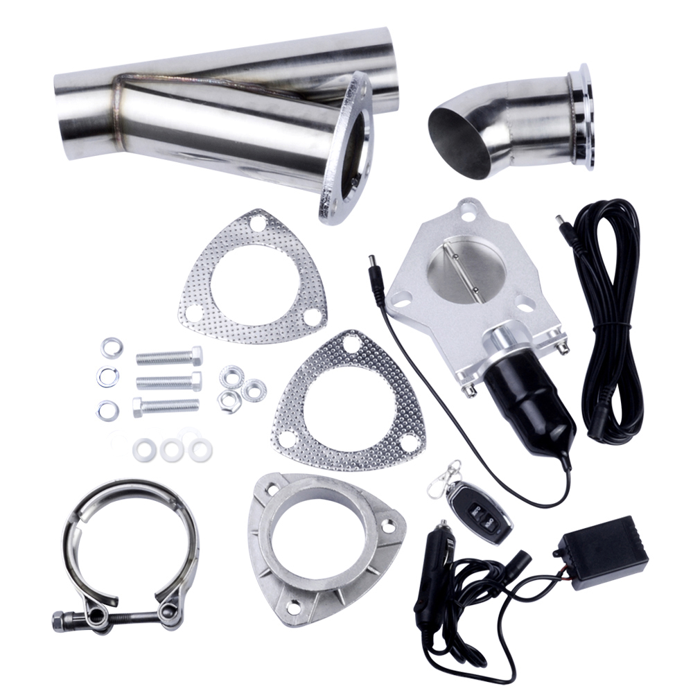 2.5 Inch Stainless Steel Headers Y Pipe Muffler Catback Bypass Exhaust Cut Out Down Pipe Remote Control Electric Exhaust Cutout tansky high quality 2 inch inch piping switch electric 2 inch exhaust dumps cutout stainless steel cutouts tk cutout02