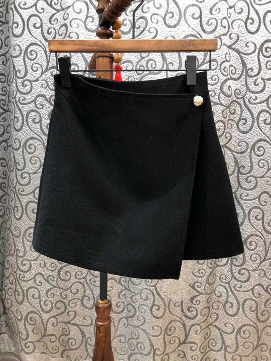 2018 Décoration De Vêtements 102 Noir Ouvert Nouvelles Automne Couleur Fourche Courte Femmes Américain Européen Côté Jupe L'hiver Et Pur rnwrgq0fP