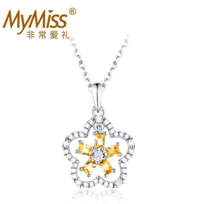 Mymiss925 silver jewelry female small flower necklace fashion chain accessories jewelry girlfriend gifts necklace
