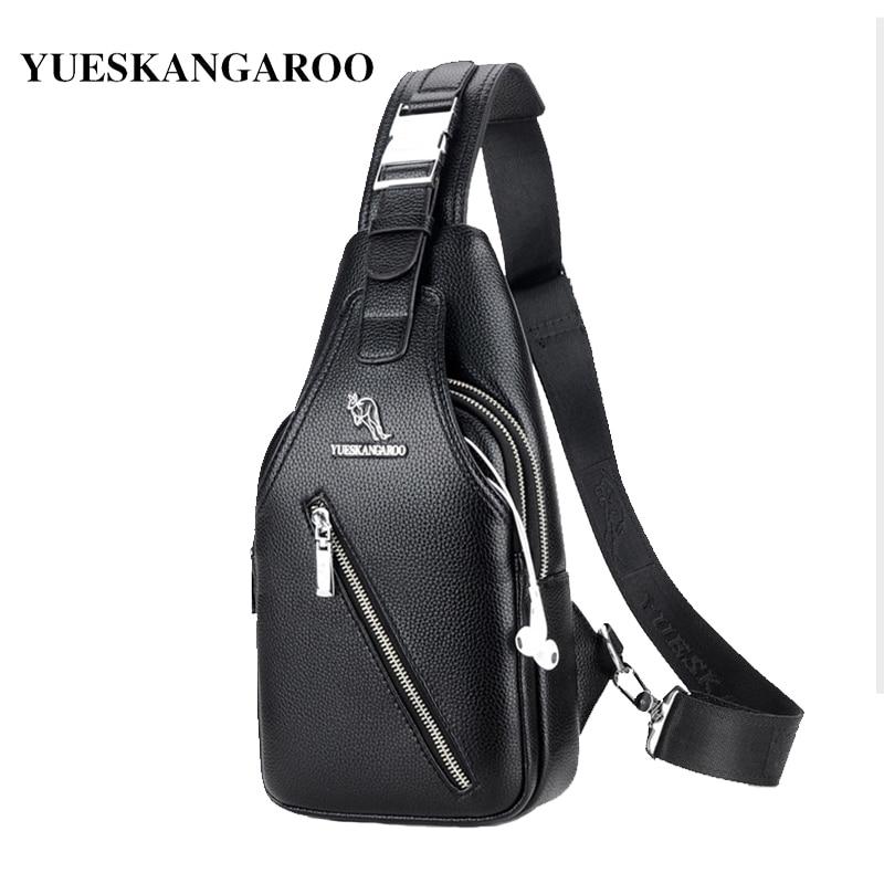 YUES KANGAROO Brand Men Chest Bag Single Messenger Bags Leather Travel Crossbody Casual Double Zipper Chest Pack Shoulder Bag