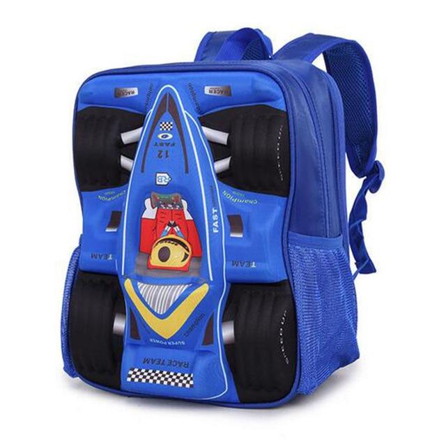 New kids shoulder bag racing 3D car bag double-shoulder backpack children schoolbag students bags for boys free shipping
